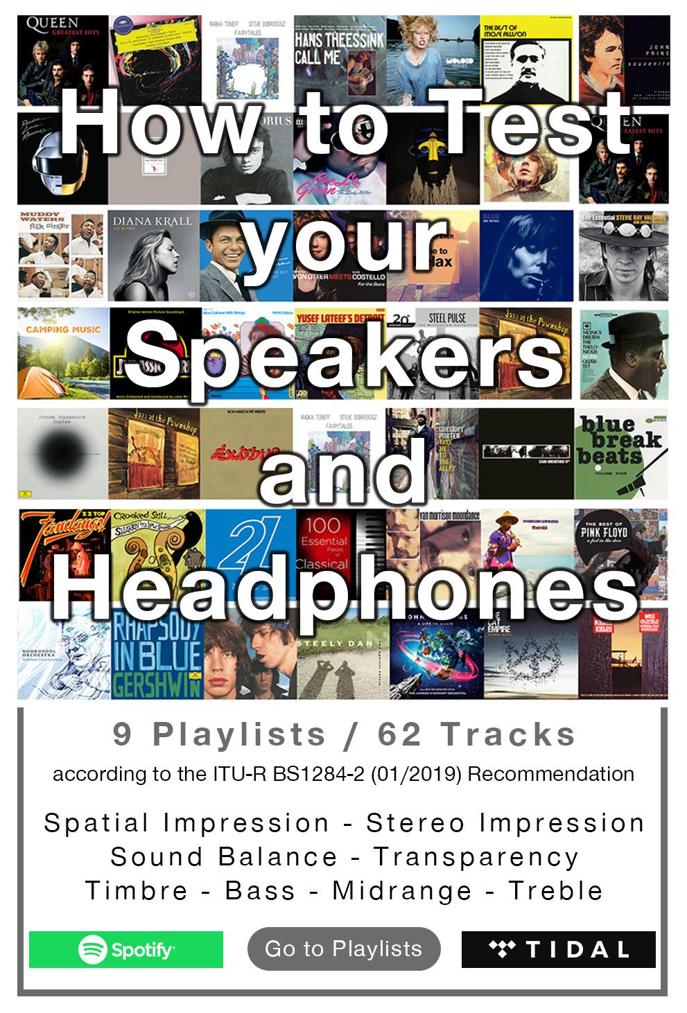 Playlist , spotify , tidal , best tracks bass , best tracks midrange , best tracks treble , best tracks spatial impression , best tracks timbre , best tracks stereo impression , best tracks sound balance , best tracks transparency , best tracks to test yo